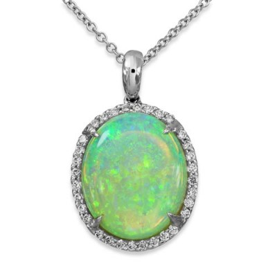 opal pendant 5.97ct. set with diamond in cluster pendant smallest Image