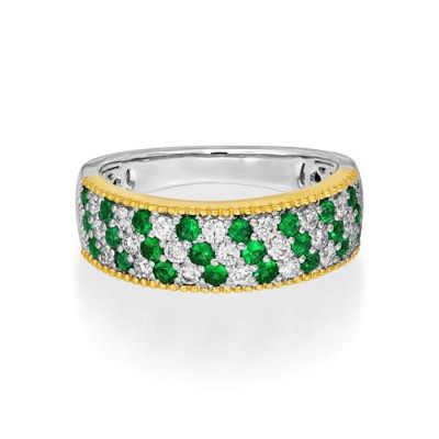 emerald ring 0.38ct. set with diamond in wide band ring smallest Image