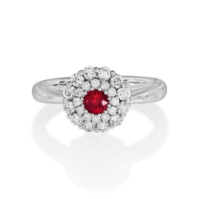 ruby ring 0.24ct. set with diamond in cluster ring smallest Image