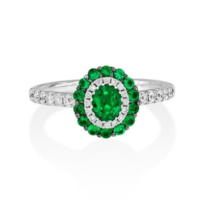 emerald ring 0.53ct. set with diamond in cluster ring smallest Image