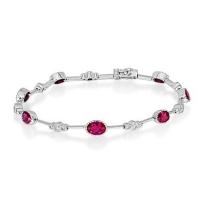 ruby bracelet 3.18ct. set with diamond in tennis bracelet smallest Image