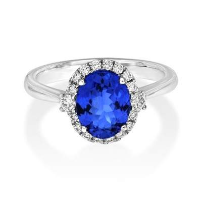 tanzanite ring 1.85ct. set with diamond in cluster ring smallest Image