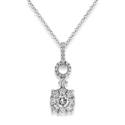 0.8ct. diamond pendant set with diamond in cluster pendant smallest Image