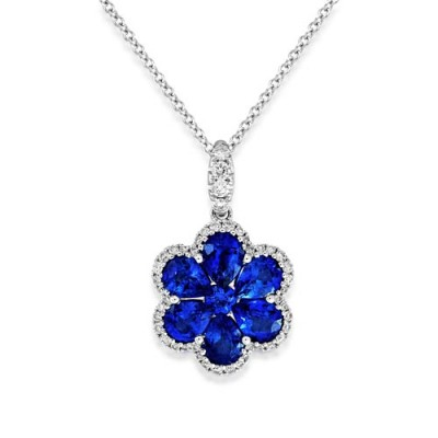 sapphire pendant 2.23ct. set with diamond in cluster pendant smallest Image