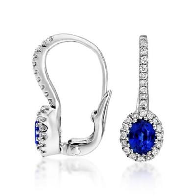 sapphire earrings 0.61ct. set with diamond in hoop earrings smallest Image