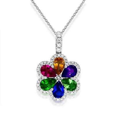 fancy sapphire pendant 2.79ct. set with diamond in cluster pendant smallest Image
