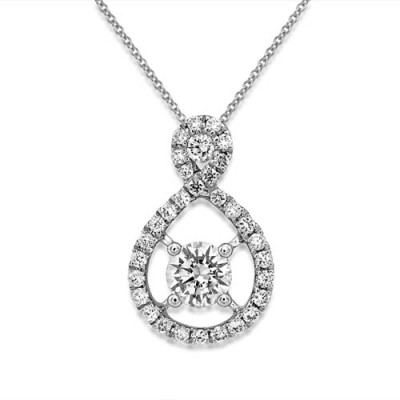 0.4ct. diamond pendant set with diamond in cluster pendant smallest Image