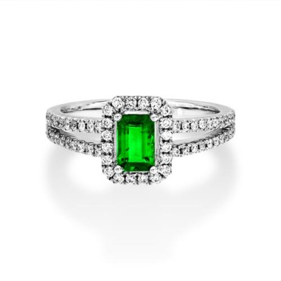 emerald ring 0.52ct. set with diamond in cluster ring smallest Image