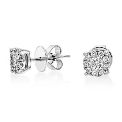 diamond  earrings 0ct. set with diamond in cluster earrings smallest Image
