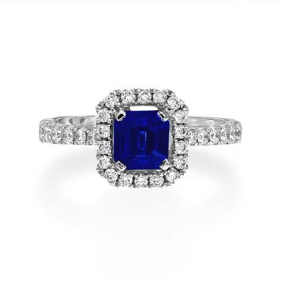 sapphire ring 1.13ct. set with diamond in cluster ring smallest Image