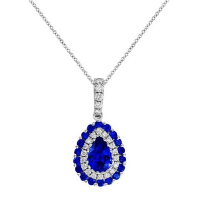 sapphire pendant 0.62ct. set with diamond in cluster pendant smallest Image