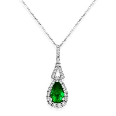 emerald pendant 0.52ct. set with diamond in cluster pendant smallest Image