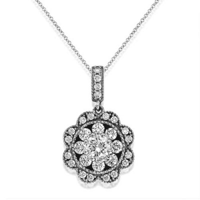 0.7ct. diamond pendant set with diamond in cluster pendant smallest Image
