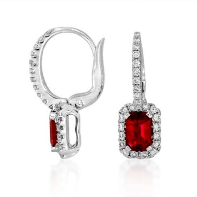 ruby earrings 1.06ct. set with diamond in hoop earrings smallest Image