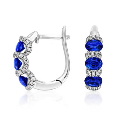 sapphire earrings 1.22ct. set with diamond in cluster earrings smallest Image