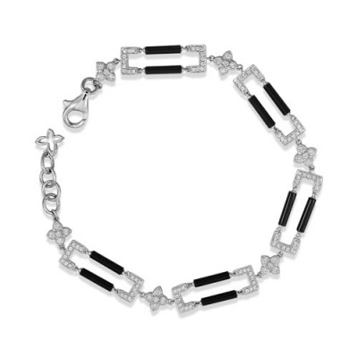 onyx bracelet 3.12ct. set with diamond in cluster bracelet smallest Image