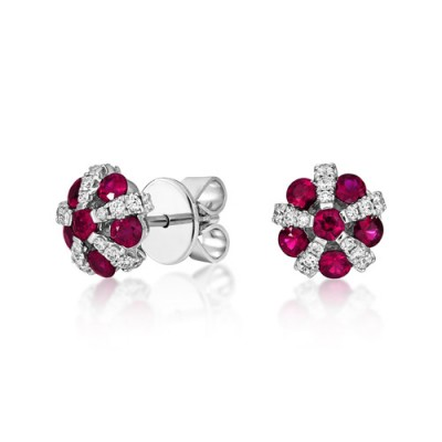 ruby earrings 1.27ct. set with diamond in cluster earrings smallest Image