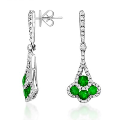 emerald earrings 0.78ct. set with diamond in drop earrings smallest Image