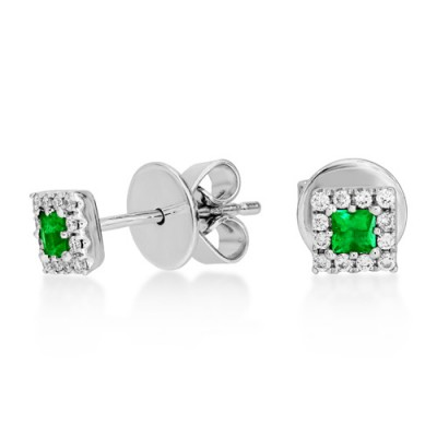 emerald earrings 0.15ct. set with diamond in cluster earrings smallest Image