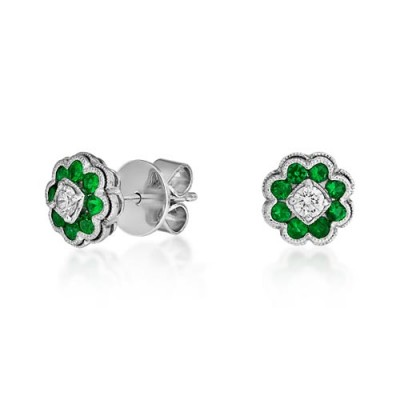 emerald earrings 0.41ct. set with diamond in cluster earrings smallest Image