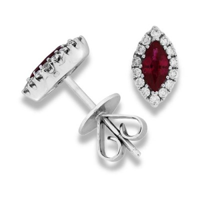 ruby earrings 0.61ct. set with diamond in cluster earrings smallest Image