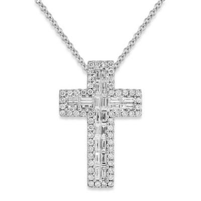 0.61ct. diamond pendant set with diamond in cross pendant smallest Image