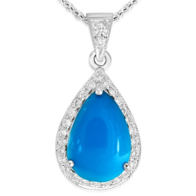 18Ct. White Gold Turquoise and Diamond Pendant
