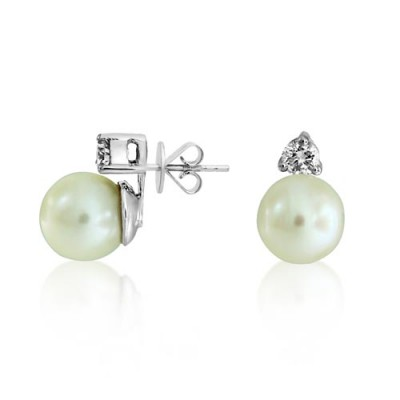 18Ct.  Gold Pearl and Diamond Earring