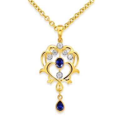 9Ki. Gold Sapphire and Diamond Pendant