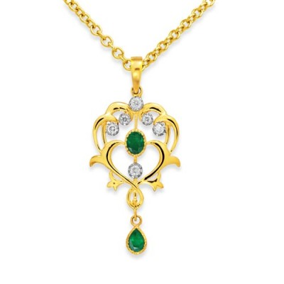 9Ct. Gold Emerald and Diamond Pendant
