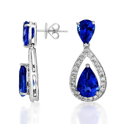 Tanzanite Earrings 4 01ct Set With Diamond In Drop Smallest Image