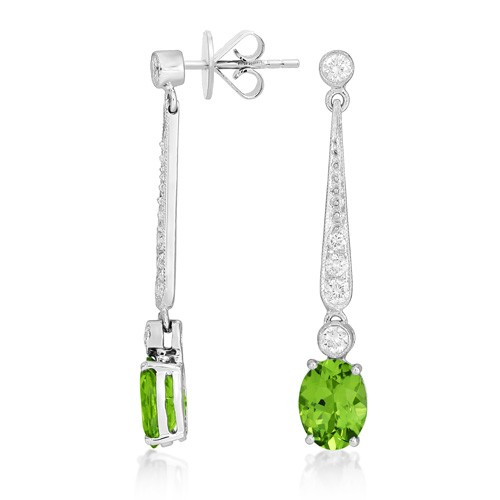 Nayum Peridot And Diamond Earrings In 18ct White Gold