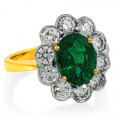 emerald ring 2.22ct. set with diamond in cluster ring smallest Image