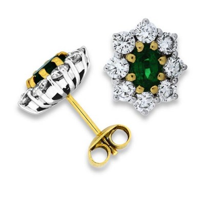 Nayum Emerald and diamond Earrings in 18Ct. Yellow Gold
