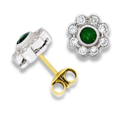 Nayum Emerald and diamond Earrings in 18Ct. Yellow Gold