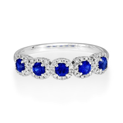 Nayum Sapphire and diamond Ring in 18Ct. White Gold