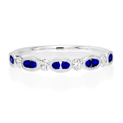 Nayum Sapphire and diamond Ring in 18Ct. White Gold
