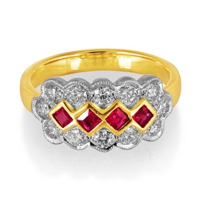 Nayum Ruby and diamond Ring in 18Ct. Yellow Gold