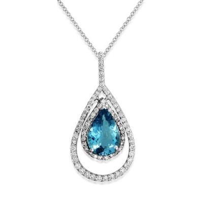 Nayum Aquamarine and diamond Pendant in 18Ct. White Gold