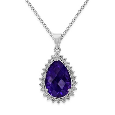 Nayum Amethyst and diamond Pendant in 18Ct. White Gold