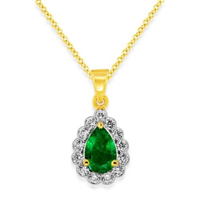 Nayum Emerald and diamond Pendant in 18Ct. Yellow Gold