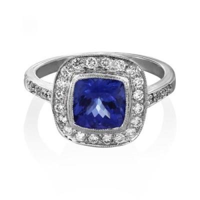 Nayum Tanzanite and diamond Ring in 18Ct. White Gold