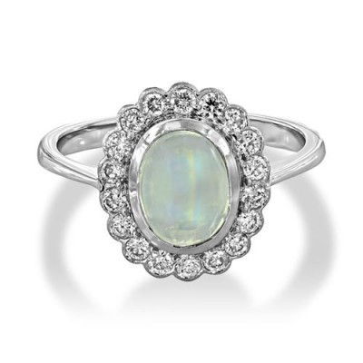 Nayum Rainbow Moonstone and diamond Ring in 18Ct. White Gold