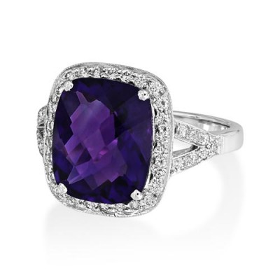 Nayum Amethyst and diamond Ring in 18Ct. White Gold