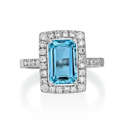 Nayum Aquamarine and diamond Ring in 18Ct. White Gold