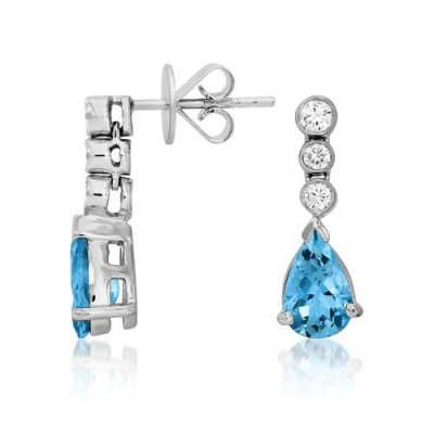 Nayum Aquamarine and diamond Earrings in 18Ct. White Gold
