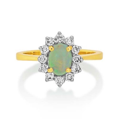 Nayum Opal and diamond Ring in 18Ct. White Gold