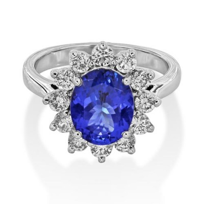 Nayum Tanzanite and diamond Ring in 18Ct. White Gold