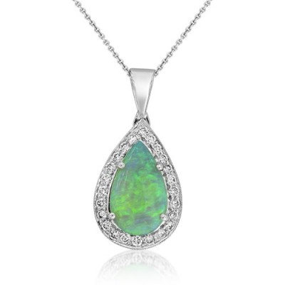 Nayum Opal and diamond Pendant in 18Ct. White Gold