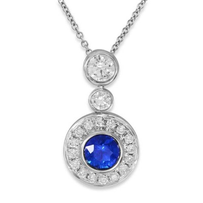 Nayum Sapphire and diamond Pendant in 18Ct. White Gold